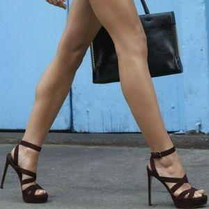 Stuart Weitzman Platform Heel Sandals Black Patent